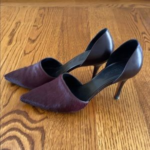 Vince D'Orsay calf hair maroon pumps size 9
